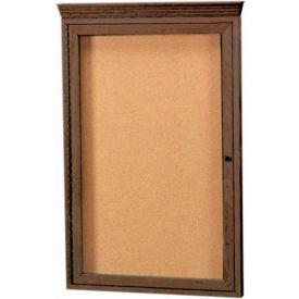 """Aarco 1 Door Red Walnut Bulletin Board w/ Crown Molding - 24""""W x 36""""H"""