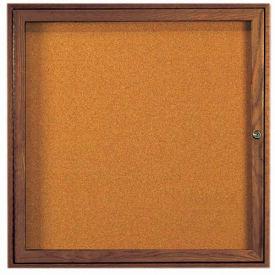 "Aarco 1 Door Walnut Enclosed Bulletin Board - 36""W x 36""H"
