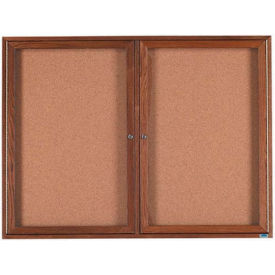 "2 Door Walnut Enclosed Bulletin Board - 48""W x 36""H"