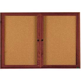 "Aarco 2 Door Walnut Enclosed Bulletin Board - 60""W x 36""H"