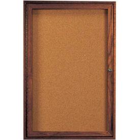 "Aarco 1 Door Walnut Enclosed Bulletin Board - 36""W x 48""H"