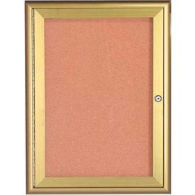 """Aarco 1 Door Water Fall Style Bulletin Board Gold - 24""""W x 36""""H"""