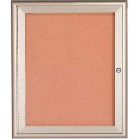 """Aarco 1 Door Water Fall Style Bulletin Board Silver - 30""""W x 36""""H"""