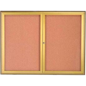 """Aarco 2 Door Water Fall Style Bulletin Board Gold - 36""""W x 48""""H"""