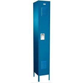 """Traditional Single Tier Locker, Starter, 1 Wide, 15""""W X 18""""D X 72""""H, Unassembled, Blue Frost"""