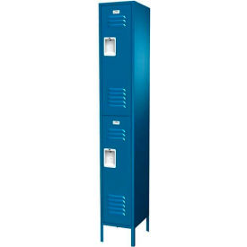 """Traditional Double Tier Locker, 2 Wide, 15""""W X 18""""D X 36""""H, Assembled, Gray"""