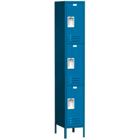 "Traditional Three Tier Locker, 3 Wide, 12""W X 15""D X 24""H, Assembled, Blue Frost"