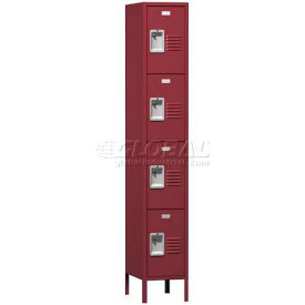 """Traditional Four Tier Locker, 2 Wide, 12""""W X 15""""D X 18""""H, Assembled, Gray"""