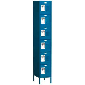 "Traditional Six Tier Locker, 1 Wide, 15""W X 18""D X 12""H, Assembled, Blue Frost"