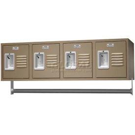 "Traditional 4 Person Wall Locker, Starter, 45""W X 18""D X 13""H, Unassembled, Almond"