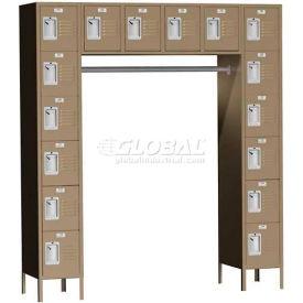 "Traditional 16 Person Locker, 69""W X 18""D X 12""H, Assembled, Almond"