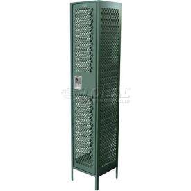 "Competitor Ventilated Single Tier Locker, 2 Wide, 15""W X 15""D X 72""H, Assembled, Black"