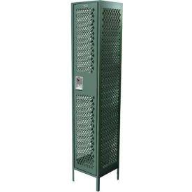"Competitor Ventilated Single Tier Locker, 3 Wide, 15""W X 18""D X 72""H, Assembled, Burgundy"