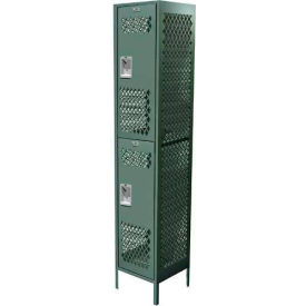 "Competitor Ventilated Double Tier Locker, 2 Wide, 12""W X 15""D X 36""H, Assembled, Mist Green"