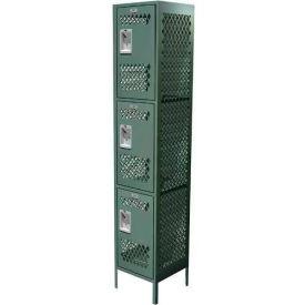 "Competitor Ventilated Three Tier Locker, 1 Wide, 12""W X 18""D X 24""H, Assembled, Gray"
