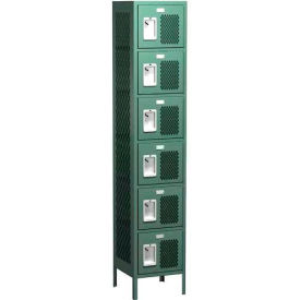 "Competitor Ventilated Six Tier Locker, Starter, 1 Wide, 12""W X 18""D X 12""H, Unassembled, Gray"