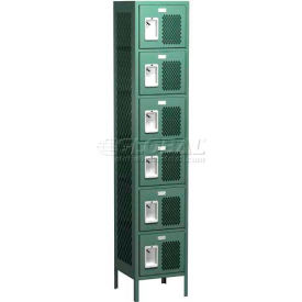 "Competitor Ventilated Six Tier Locker, 3 Wide, 15""W X 18""D X 12""H, Assembled, Gray"