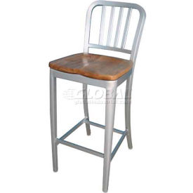 "Alston Quality Aluminum Dining Stool with Natural Wood Seat 30""H"