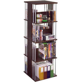Atlantic® Typhoon 216 CD/144 DVD/Blu-Ray/Games Spinner in Espresso with Silver Frame
