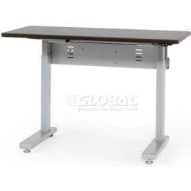 """Anthro Elevate II Sit/Stand Electric Lift Table 48""""L x 29""""W, Wenge Top Silver Satin Frame"""
