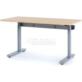 "Anthro Elevate II Sit/Stand Electric Lift Table 60""L x 29""W, Maple Top Silver Satin Frame"