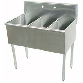 Budget Kitchen Sink, 3 Compartment, 16L x21W Bowl, 16Ga. 430 Stainless Steel
