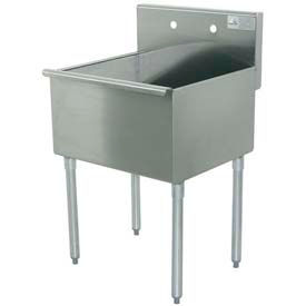 Budget Kitchen Sink, One Compartment,24L x24W Bowl, 24L x 41H Overall, 430 Stainless Steel