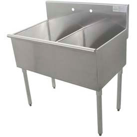Budget Kitchen Sink, 2 Compartment, 30L x24W Bowl, 430 Stainless Steel