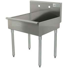 Freestanding Mop Sink, One Compartment, 20L x 21W x 8H Bowl, 430 Stainless Steel