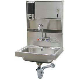 Soap & Towel Dispenser All-In-One Hand Sink Unit,10x14x5 Bowl