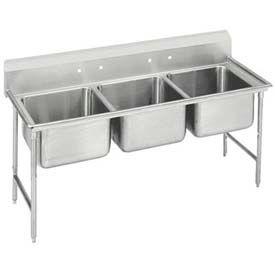 Regaline Three Compart. Sink, 24L x 24W Bowl, 8 Splash, 16 Ga.