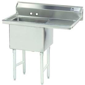 NSF Fabricated 1 Compartment Sink, 18L x 18W Bowl, 8-1/2 Splash, 18H Right Drainboard, 16Ga.
