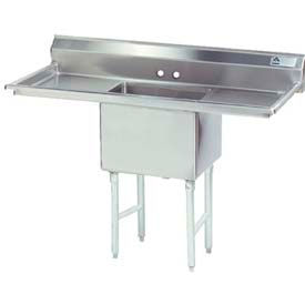 NSF Fabricated 1 Compartment Sink, 18L x 18W Bowl, 8-1/2 Splash, 24H Left & Right Drainboards, 16Ga.