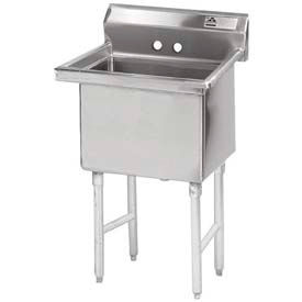 NSF Fabricated 1 Compartment Sink, 24L x 24W Bowl, 8-1/2 Splash, 16Ga.