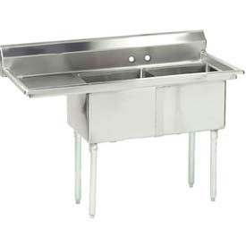 "NSF Fabricated 2 Compartment, 24L x 24W Bowl, 8-1/2H Splash, 18"" Left Drainboard 16 Ga."