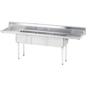 NSF Fabricated 3 Compart. Sink, 18L x 18W Bowl, 9H Splash, 18L Left & Right Drainboards, 18 Ga.