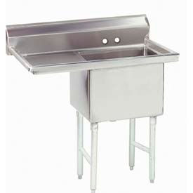NSF Fabricated 1 Compartment Sink, 36L x 24W Bowl, 8-1/2 Splash, 24H Left Drainboard, 14Ga.