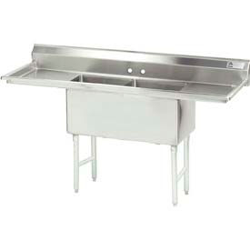 """NSF Fabricated 2 Compartment, 18L x 24W Bowl, 8-1/2H Splash, 24"""" Left & Right Drainboards 14 Ga."""