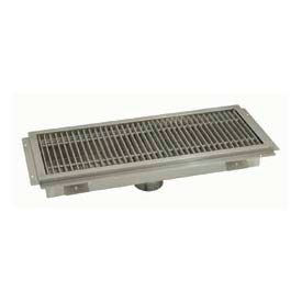 Floor Trough, 24L x 12W x 4H, Stainless Steel Grate Single Drain
