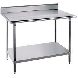 "Work Table, 24"" Wide Top, W/Splash At Rear Only, 108"" Long, W/Adjustable Undershelf, S/S Frame"