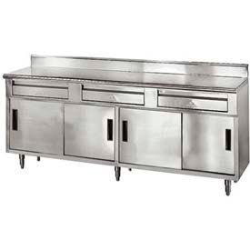 "Advance Tabco SDRC-3010 120""W x 30""D Enclosed Storage Cabinet Base - Sliding Doors, Bottom Shelf"