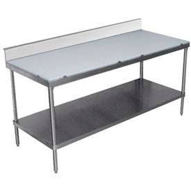"""Advance Tabco SPS-306 72""""W x 30""""D Work Table, Poly-Vance Cutting Surface Top, 6"""" Splash At Rear"""
