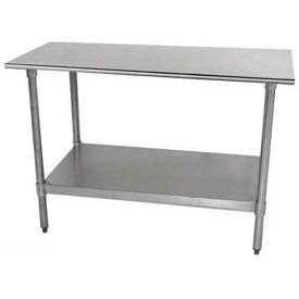 "Economy Work Table, 30""D Top, Without Splash, 48""W, Adjustable Galvanized Undershelf"