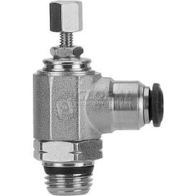 "Alpha Fittings Flow Control 50905N-6-1/8, Knob Adj, Flow Out, 6mm, 1/8"" Swift-Fit Universal Thread - Pkg Qty 2"