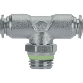 "Alpha Fittings Swivel Branch Tee, 60210-4-1/4, 4mm Tube x 1/4"" Male BSPT Thread, Stainless Steel"