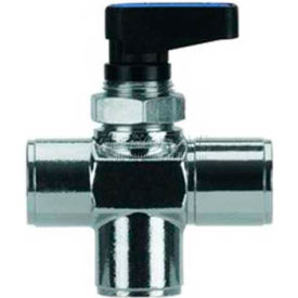 "Alpha Fittings 3-Pos Mini Ball Valve 86700-04, Closed Center,1/4"" Female Nptf - Min Qty 4"