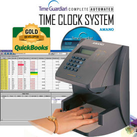 Amano Time Guardian Automated Time Clock Hand Punch System, Gray, HP-1000E/A169 by
