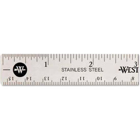 "Westcott® Stainless Steel Ruler with Non Slip Cork Base, 6"" Long, 1 Each"