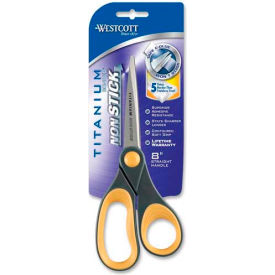 "Westcott® Titanium Bonded Non-Stick Scissors, 8""L Straight, Gray/Yellow"