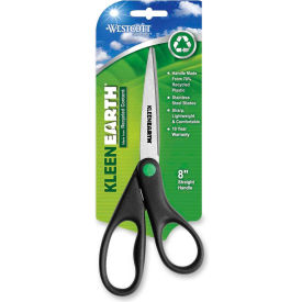 "Westcott® KleenEarth Recycled Stainless Steel Scissors, 8""L Straight, Black"